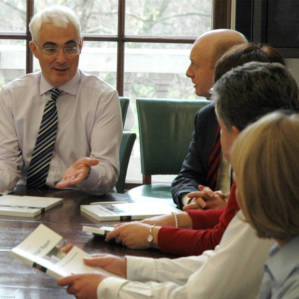 Alistair Darling has one eye on the red box, another on the ballot box