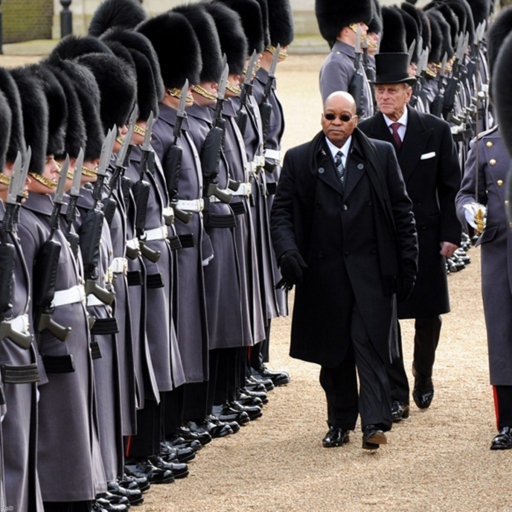 Jacob Zuma inspects British troops on Horse Guards Parade yesterday