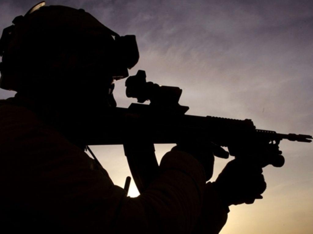 A troop's silhouette in Afghanistan
