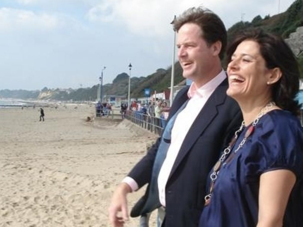 Nick Clegg and Miriam Gonzalez Durantez enjoy the fresh air at the 2008 Liberal Democrat conference
