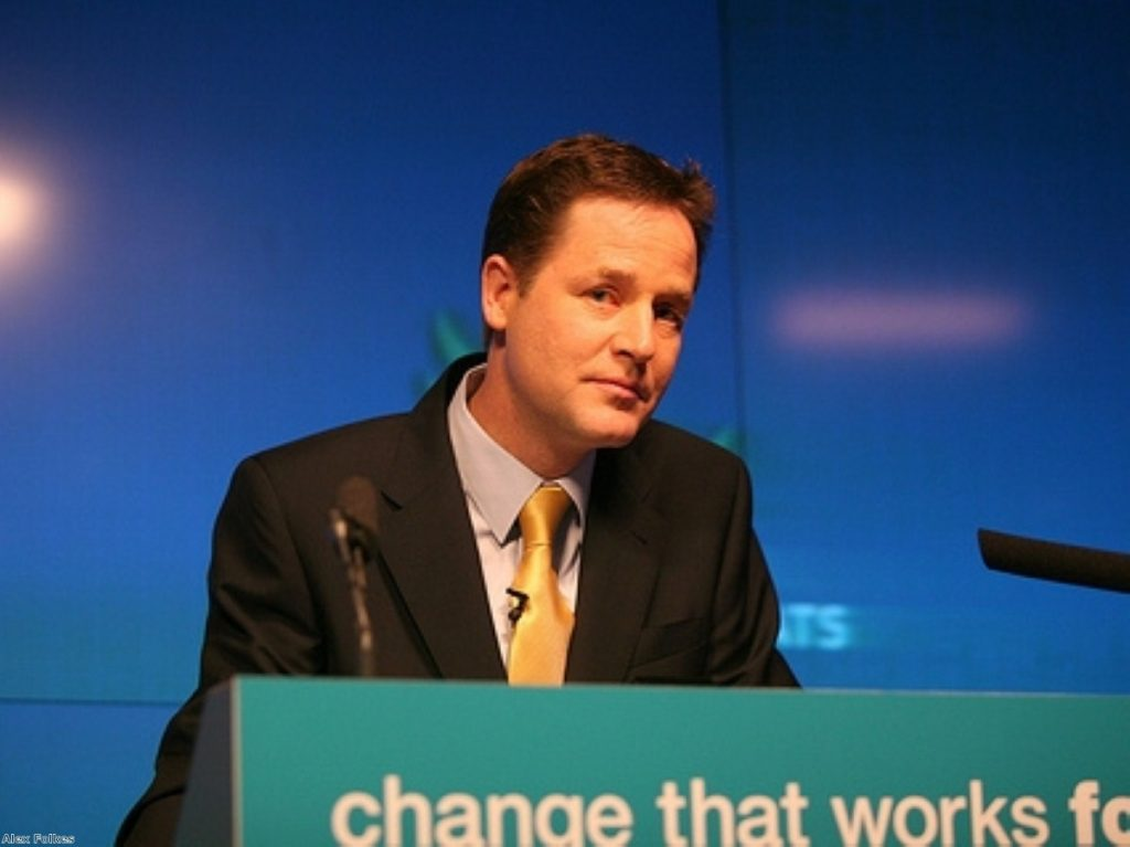 Nick Clegg in pensive mood as he launches the Lib Dem manifesto