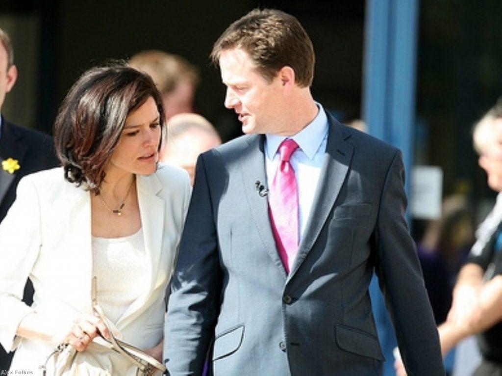 Nick Clegg camaigning with his wife, Miriam Gonzalez Durantez, yesterday