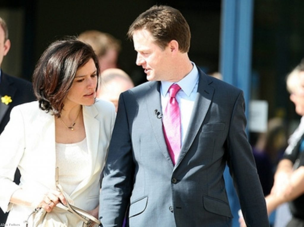 Nick Clegg has been accompanied by his wife Miriam during weekends in the 2010 campaign