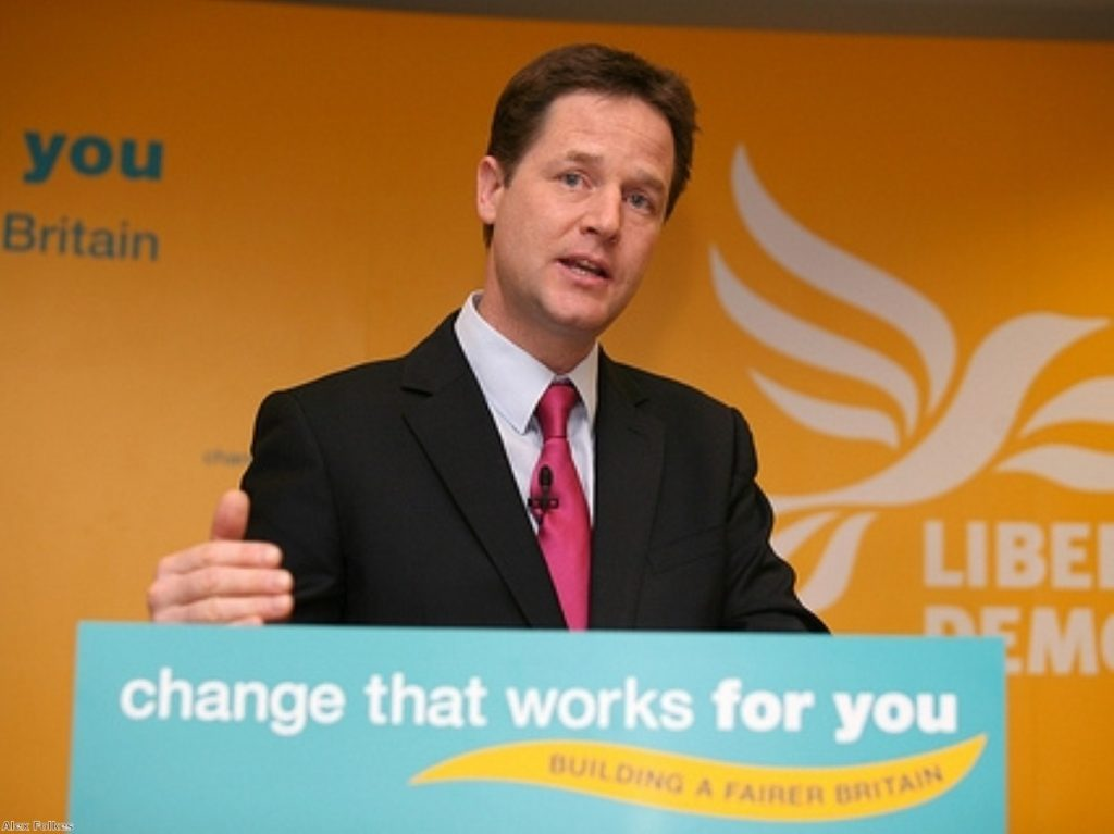 Nick Clegg stresses a point at his morning press conference earlier today