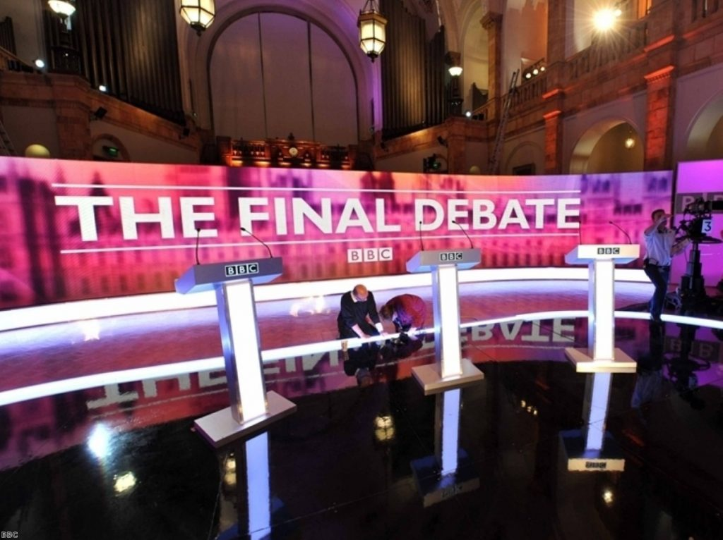 Cameron during 2010 TV debates, when he was overshadowed by Nick Clegg