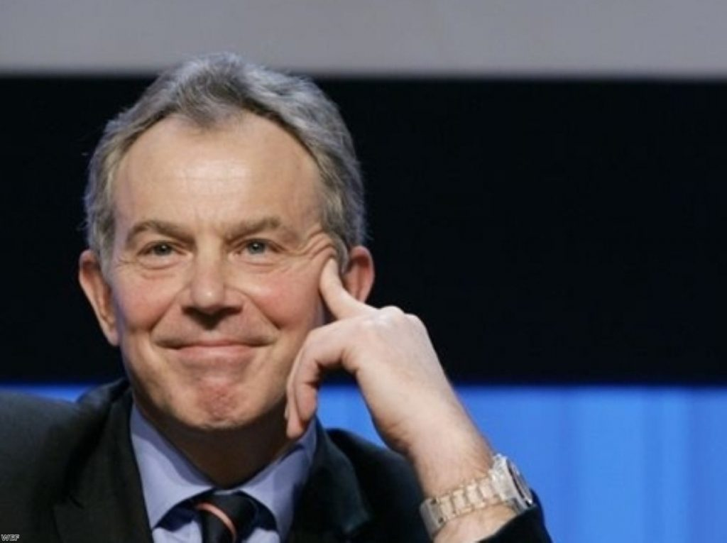 Pleased as punch: Blair has business interests bringing in millions