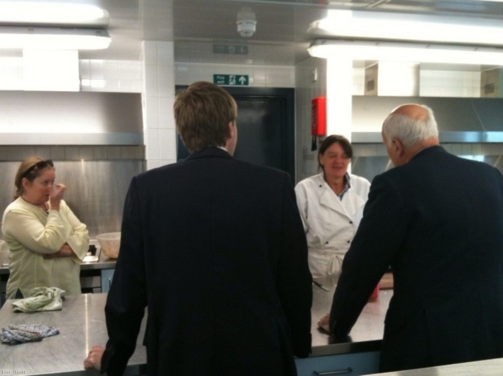 Iain Duncan Smith visits a homeless shelter with Winchester MP Steve Brine during the election campaign