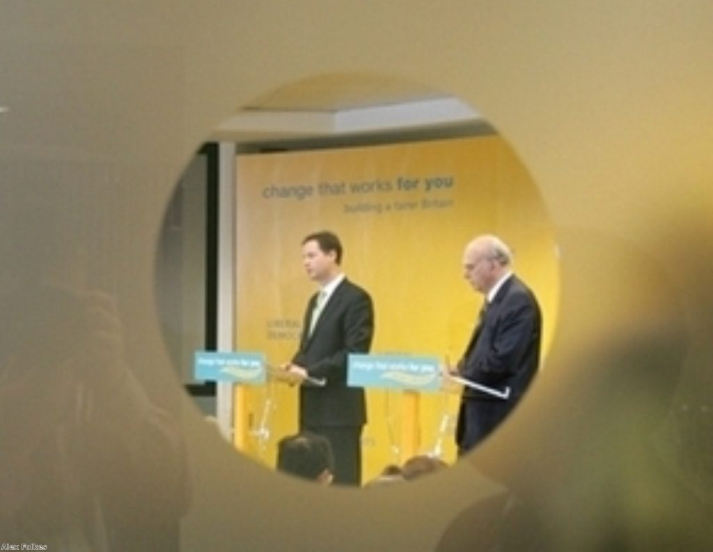 Nick Clegg and Vince Cable during on of their morning press conferences