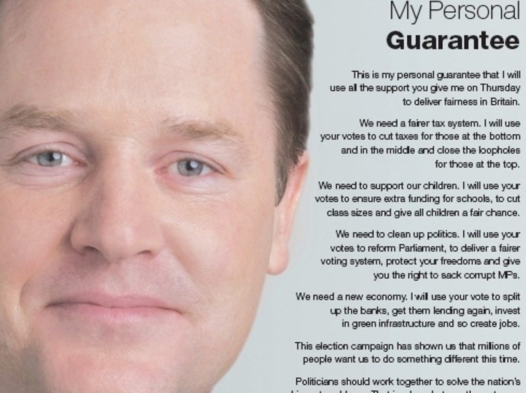 Nostalgia? A Lib Dem campaign leaflet when Clegg was still riding high.