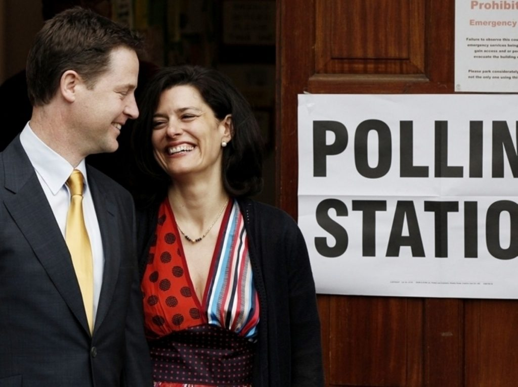 Nick Clegg at the polling station on Thursday morning