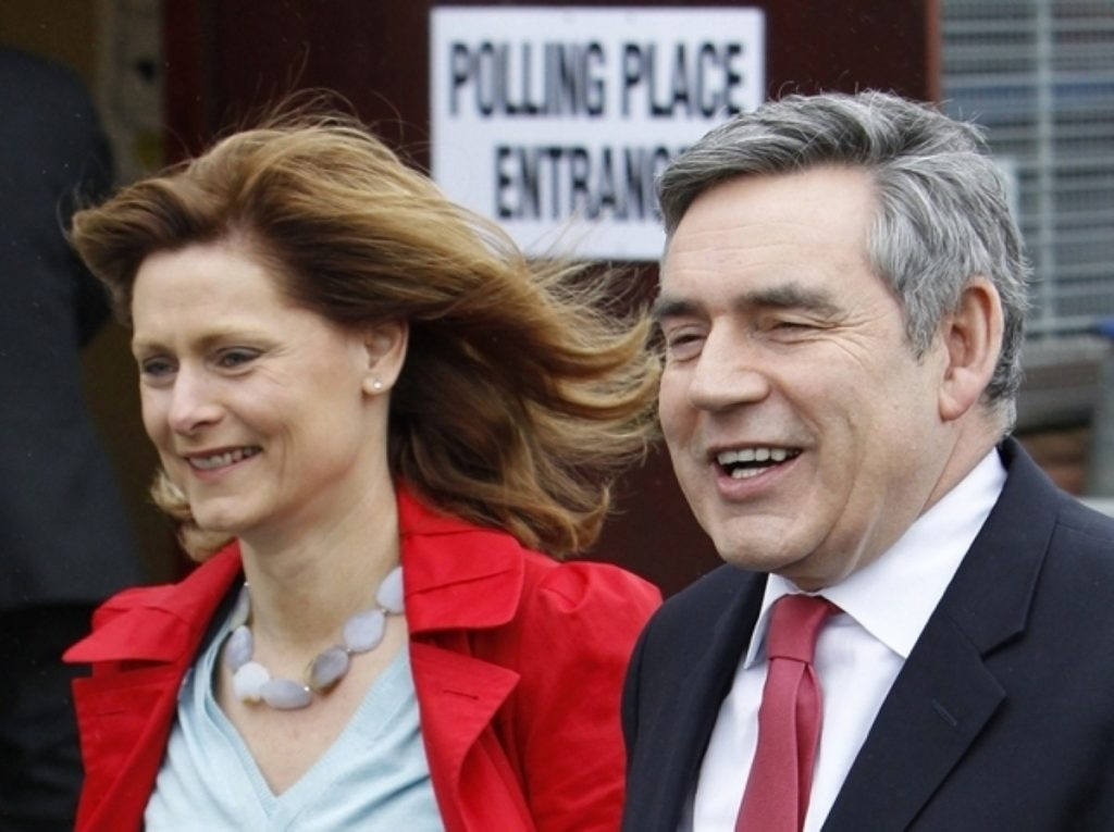 Gordon Brown casts his vote with his wife, Sarah