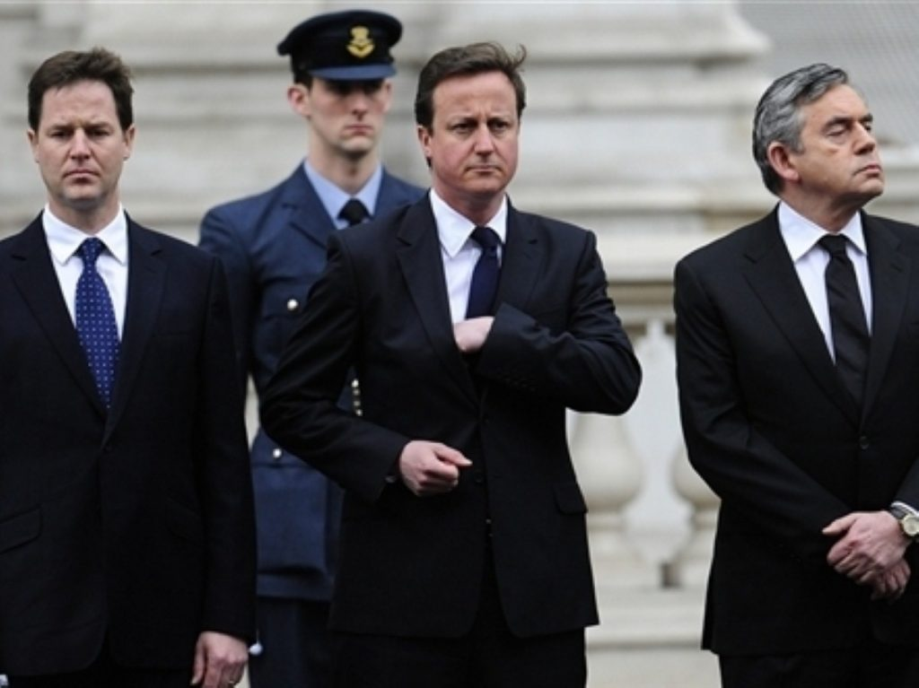 Nick Clegg, David Cameron and Gordon Brown at a VE ceremony on Sunday