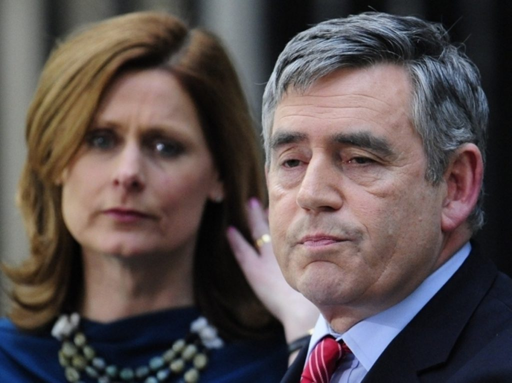 Gordon Brown resigns this evening, flanked by his wife Sarah