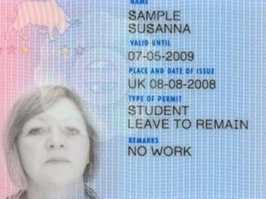 The format of the planned ID cards, before they were scrapped by the coalition government