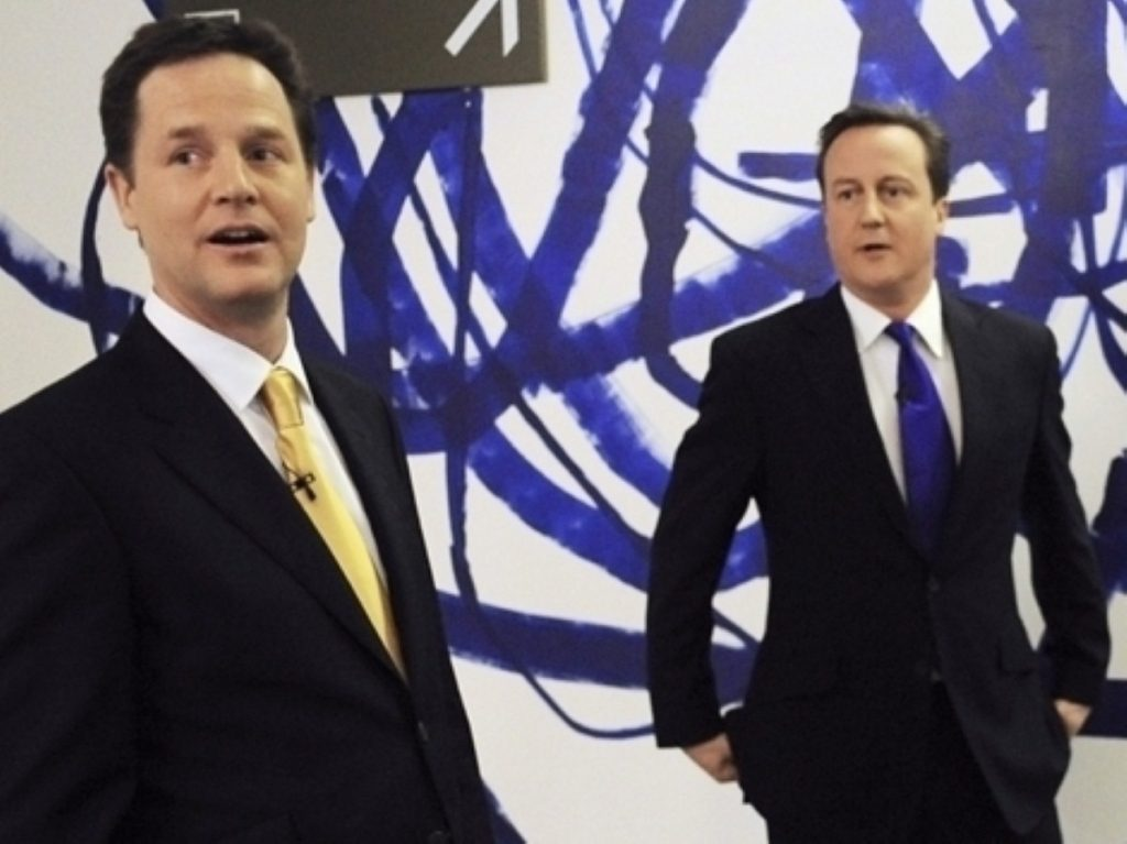 Nick Clegg and David Cameron before the second leaders' debate. They are now partners in government