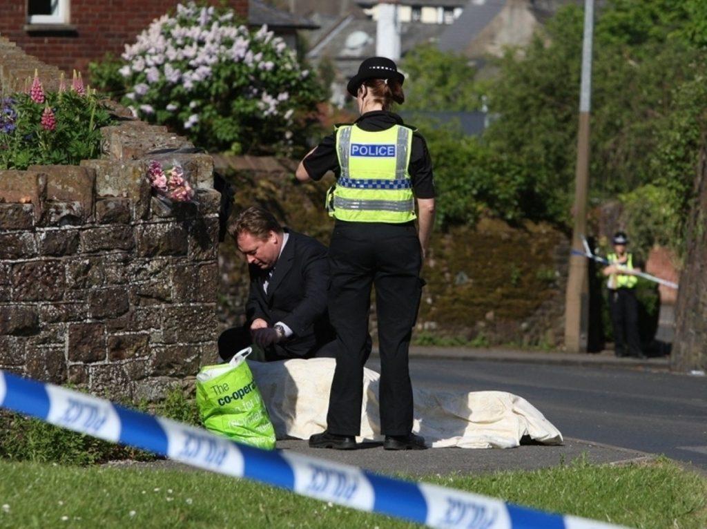 The crime scene in Cumbria yesterday