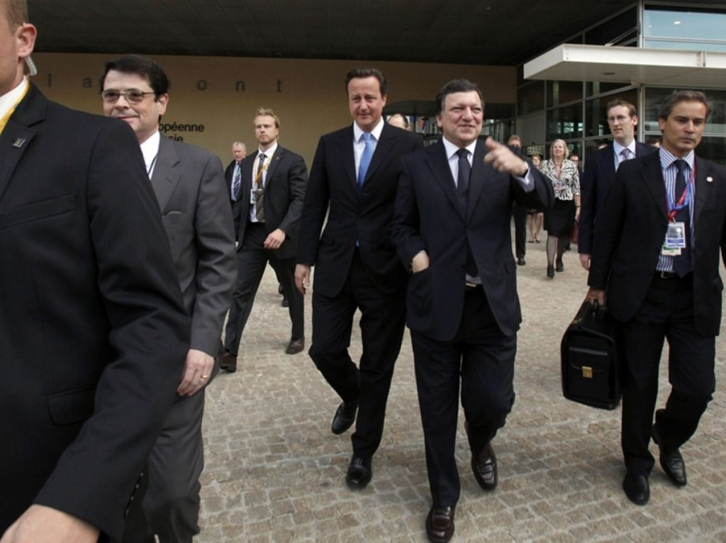 David Cameron talks with European Commission President Jose Manuel Barroso this morning before a press conference