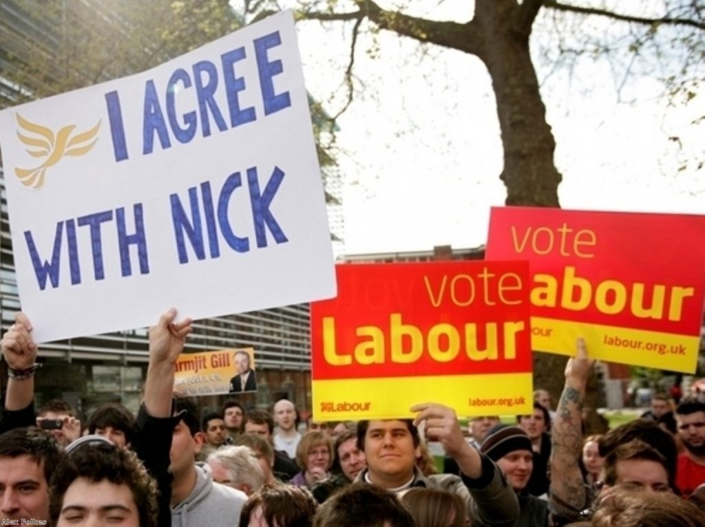 Swappng clothes: A pro-Clegg placard at a Labour gathering before the election. Lib Dem supporters might be tempted to vote Labour under Ed Miliband's leadership.