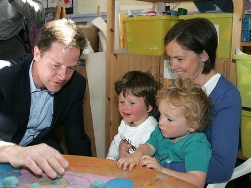 Nick Clegg visits a playgroup during the 2010 election campaign
