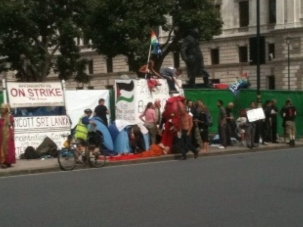 Protestors mingling outside the eviction zone this morning