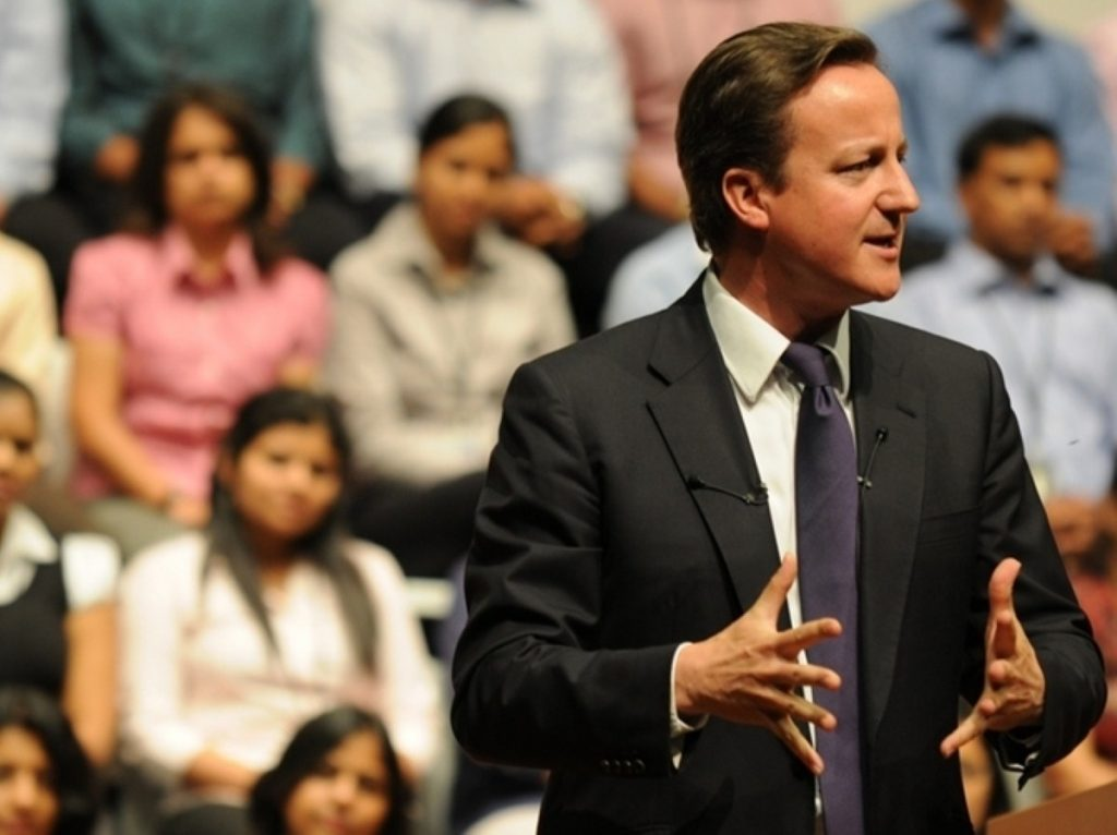 Cameron during his speech in India which triggered the row