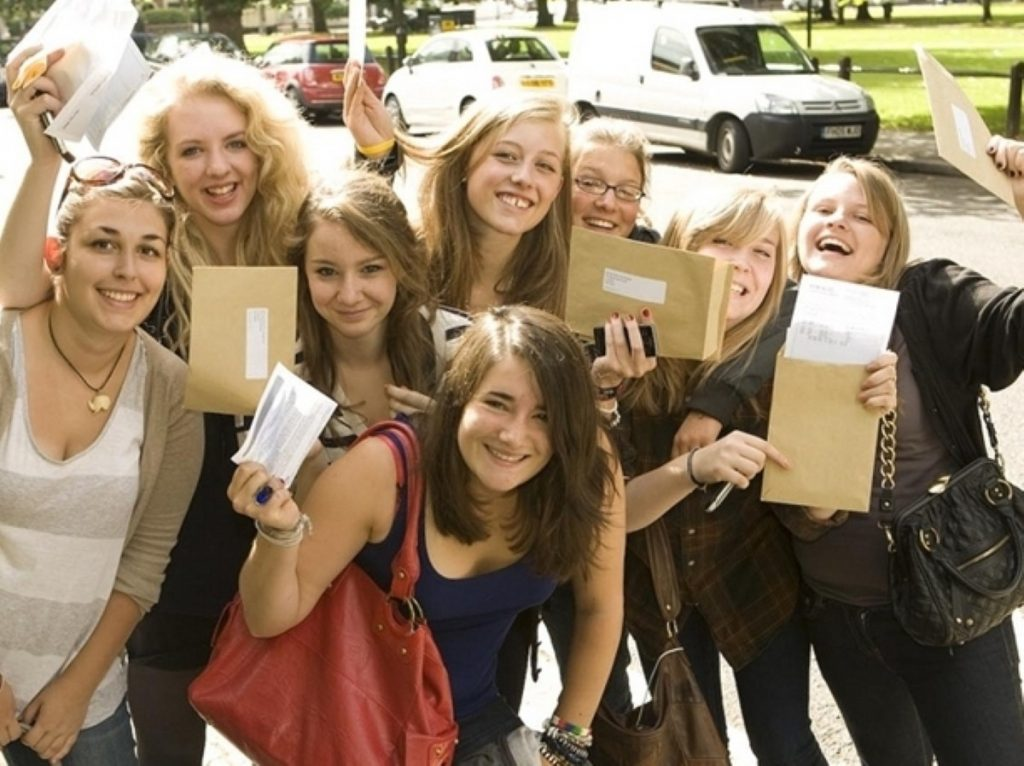GCSE students celebrate earlier this summer. Not all who took English this year are so happy
