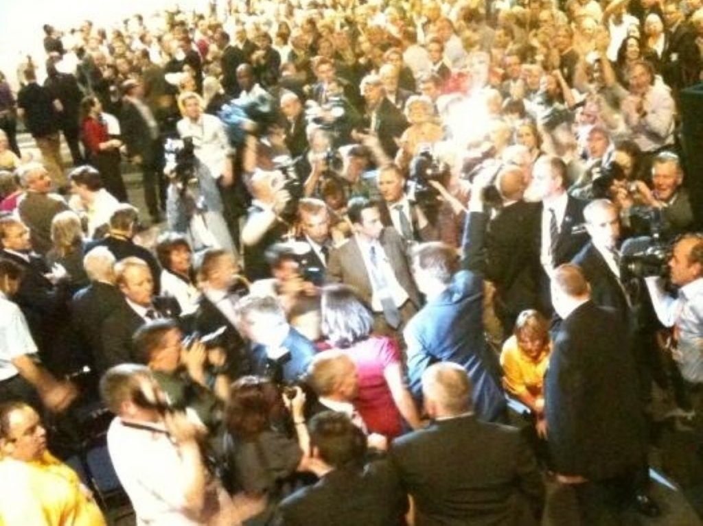 Adulation as Nick Clegg leaves the conference floor