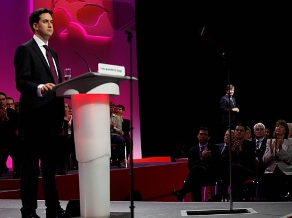 Ed Miliband delivers his conference speech