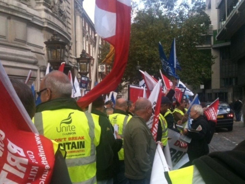 Union members rally in London: Relations between Balls and union leaders appear close to breaking point.
