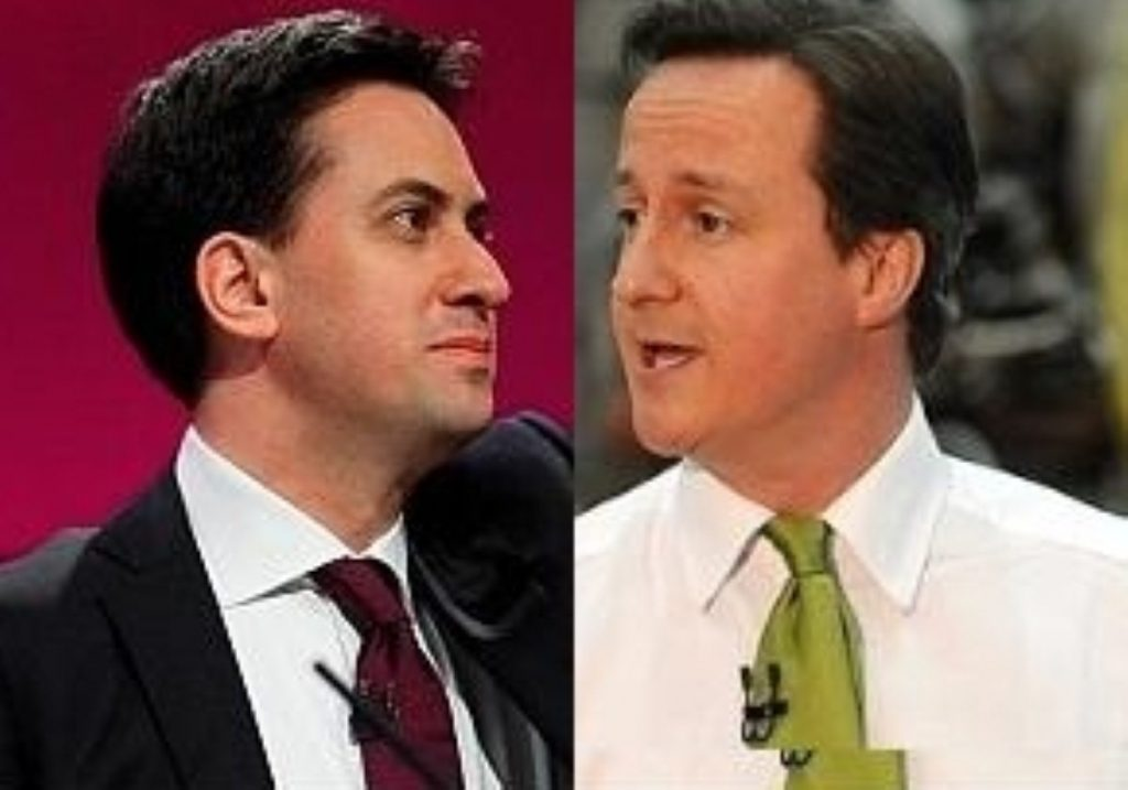 Mirror image: Cameron is meeting with Miliband's funders as the Labour leader argues with Unite
