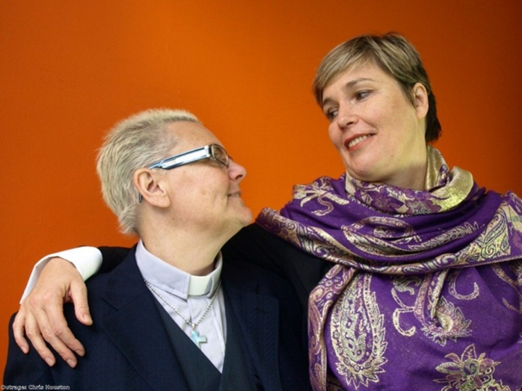 Rev Sharon Ferguson and her partner Franka take part in an Outrage! Equal Love campaign in 2010.