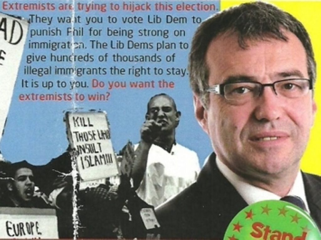 One of Phil Woolas' election leaflets, which were accused of stoking racial tension