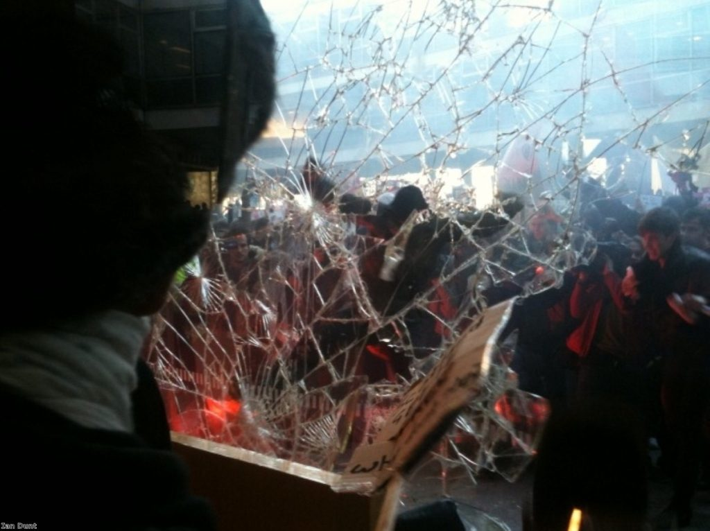 Students and anarchists attack Tory HQ in Milbank in 2010