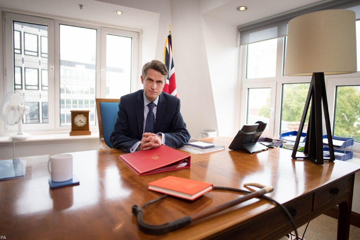 Gavin Williamson in his office at the Department of Education this week, at a photo-shoot arranged to coincide with the U-turn.