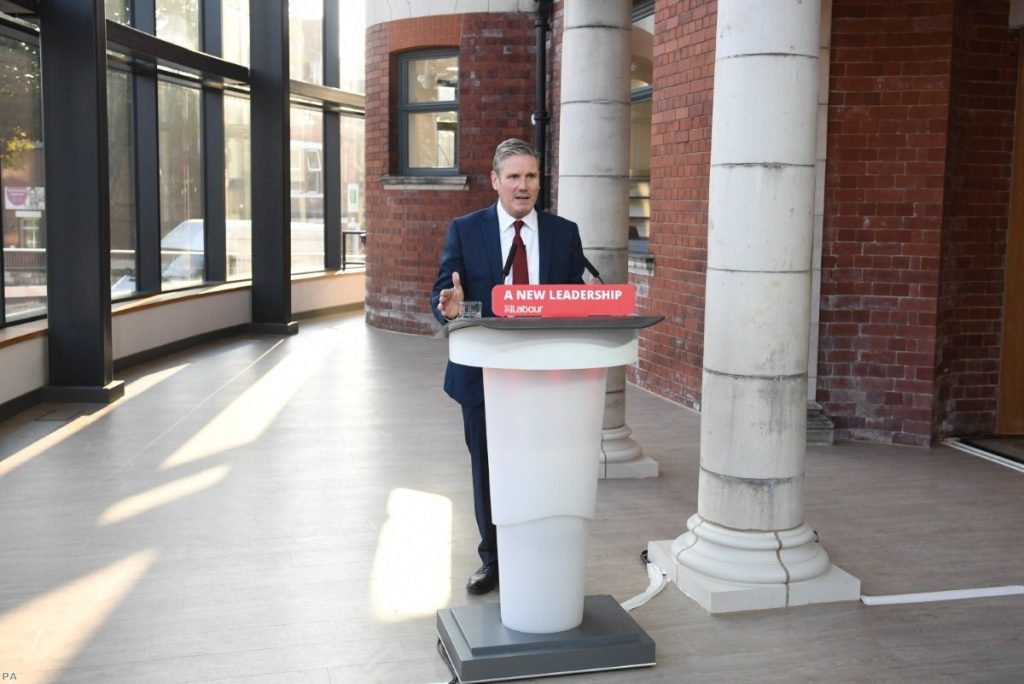 Starmer delivers his keynote speech during the party's online conference from the Danum Gallery in Doncaster.