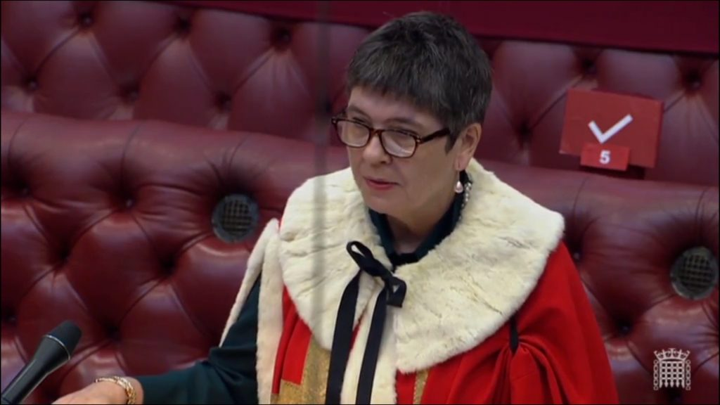 Claire, Baroness Fox of Buckley in ceremonial robes being sworn in to the House of Lords