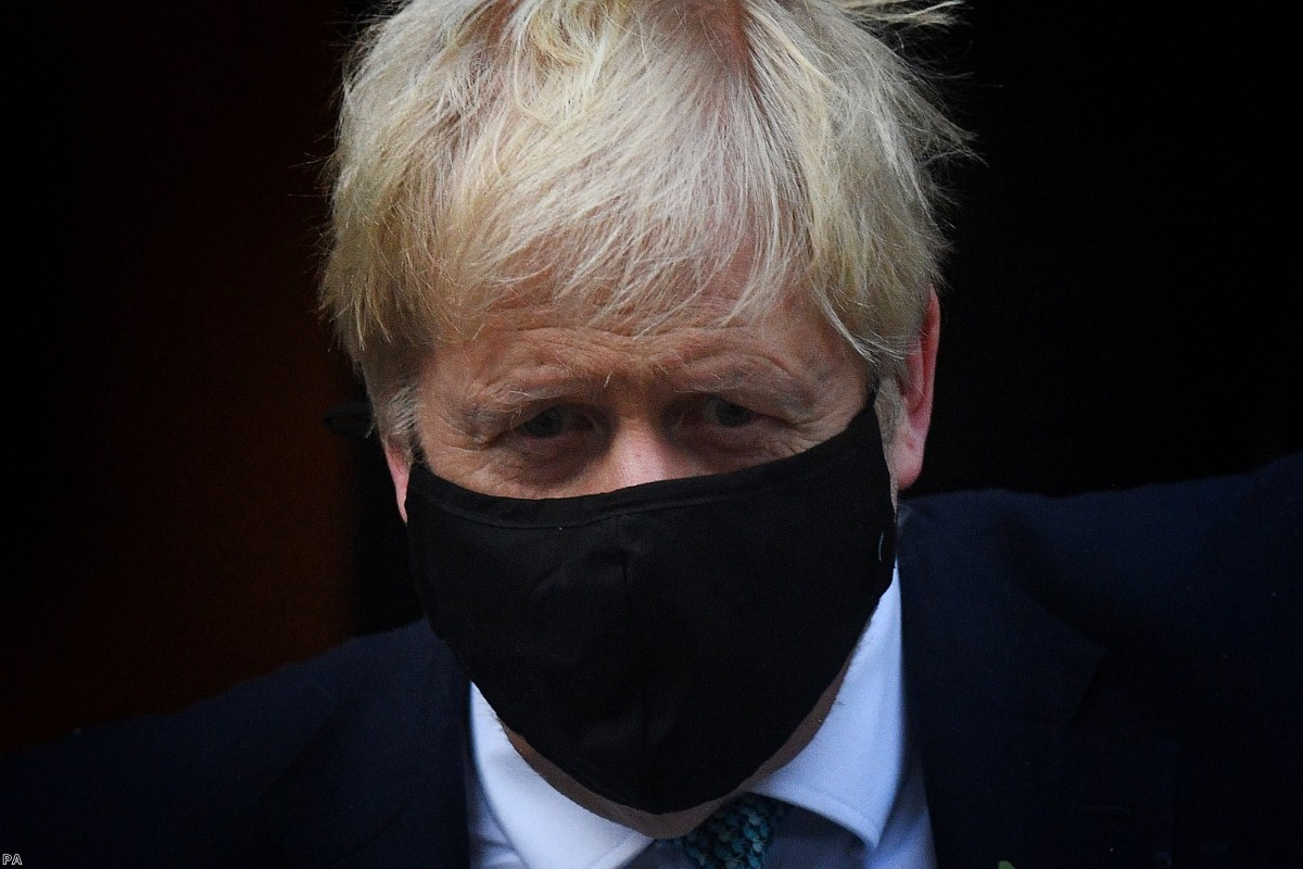 Johnson leaving 10 Downing Street on Monday to brief MPs on the coronavirus pandemic.