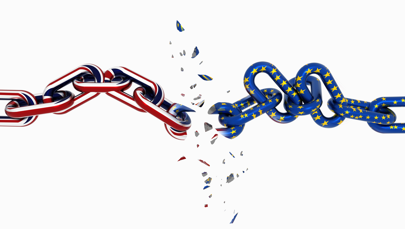 union jack and european union chain breaking