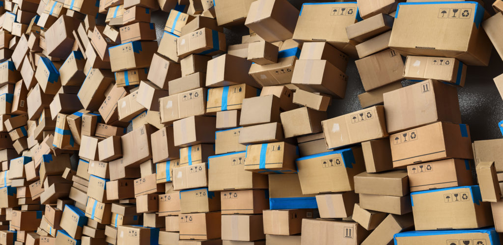 boxes for delivery piled up