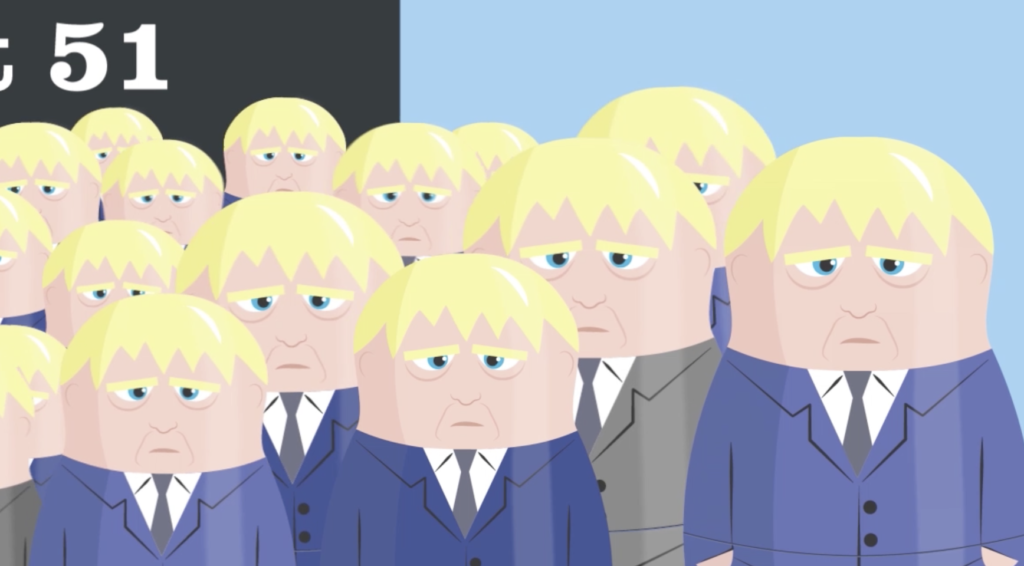 Lots of Russian Dolls that look like Boris Johnson