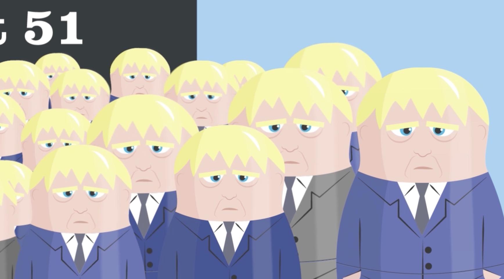 Lots of Russian Dolls that look like Boris Johnson
