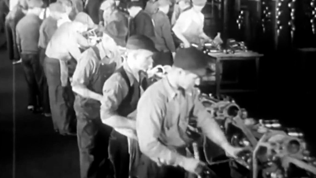 Working class men working in a factory
