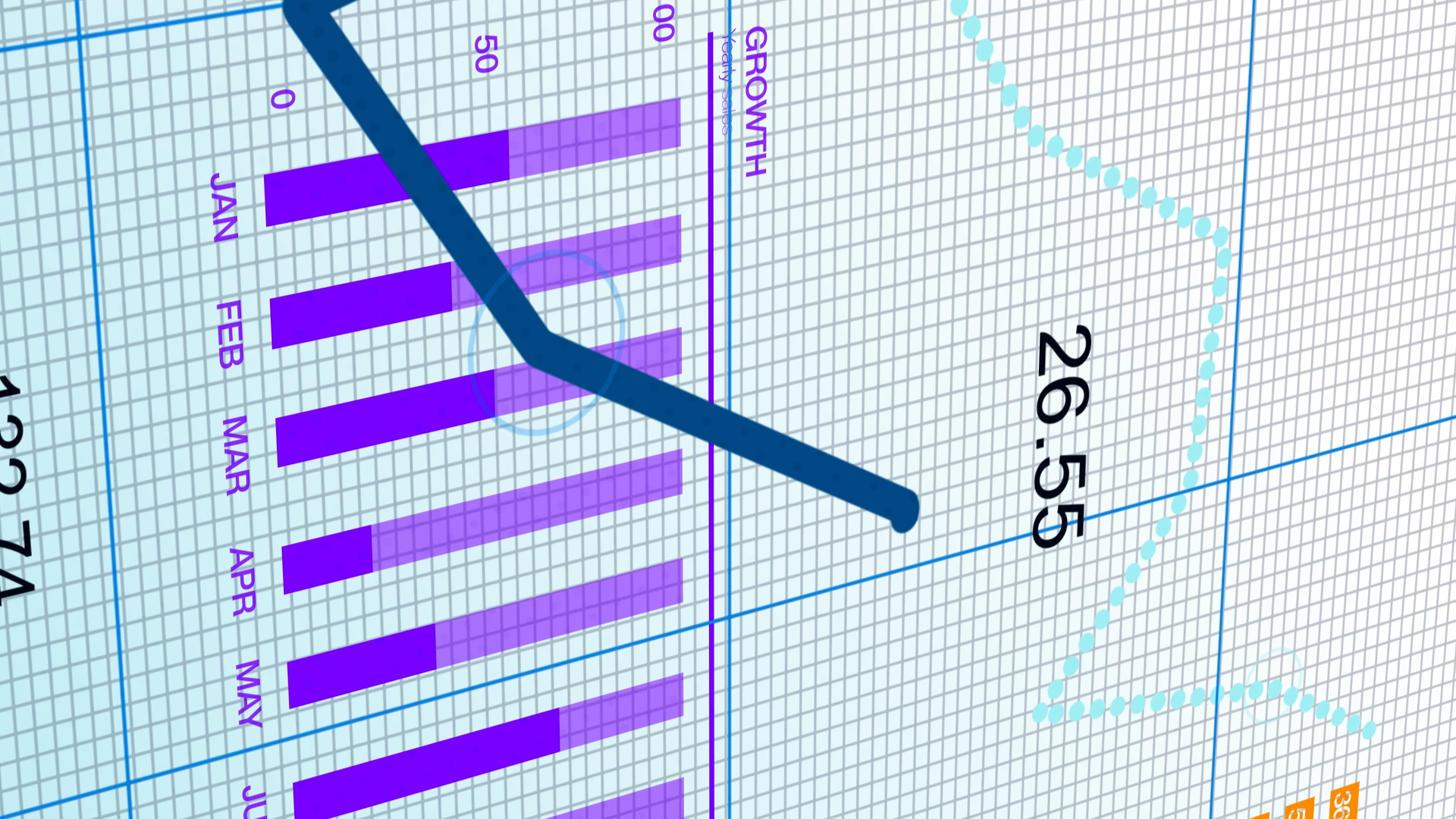 A blue line graph trending downwards