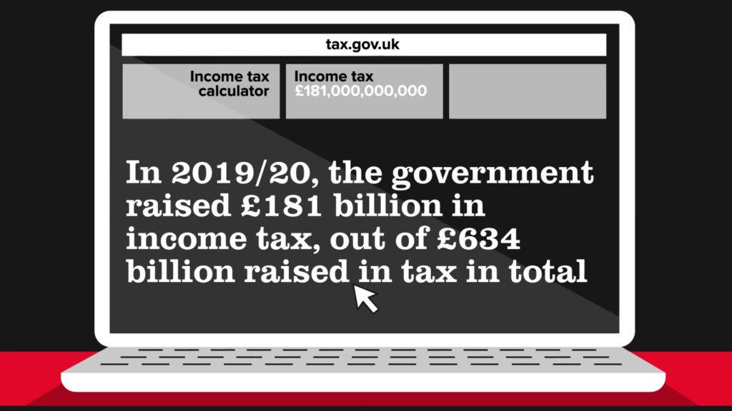 A cartoon laptop screen with tax website