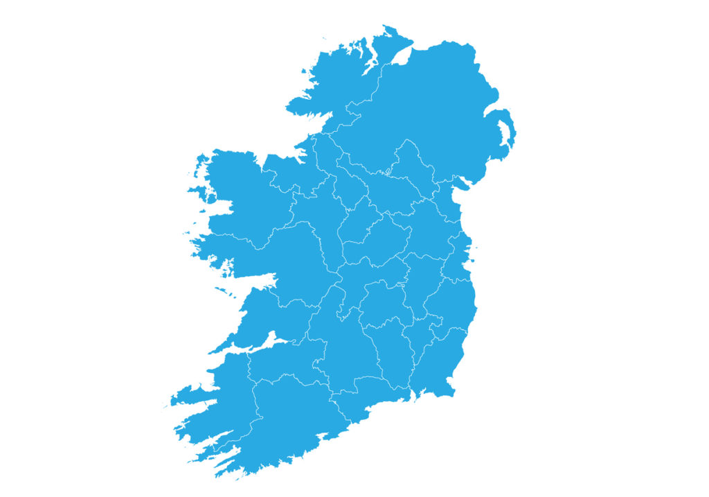 A blue map of the island of Ireland