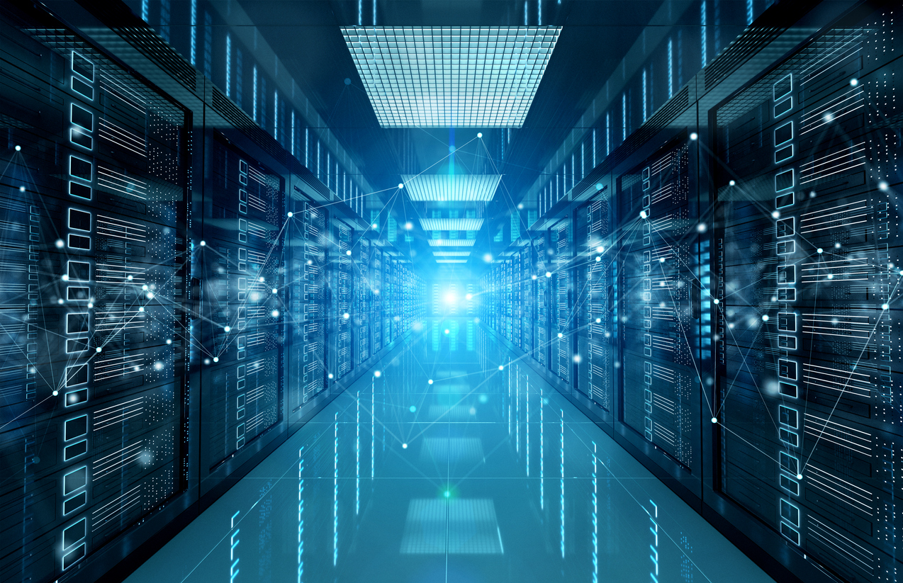 Connection network in dark servers data centre room storage systems 3D rendering