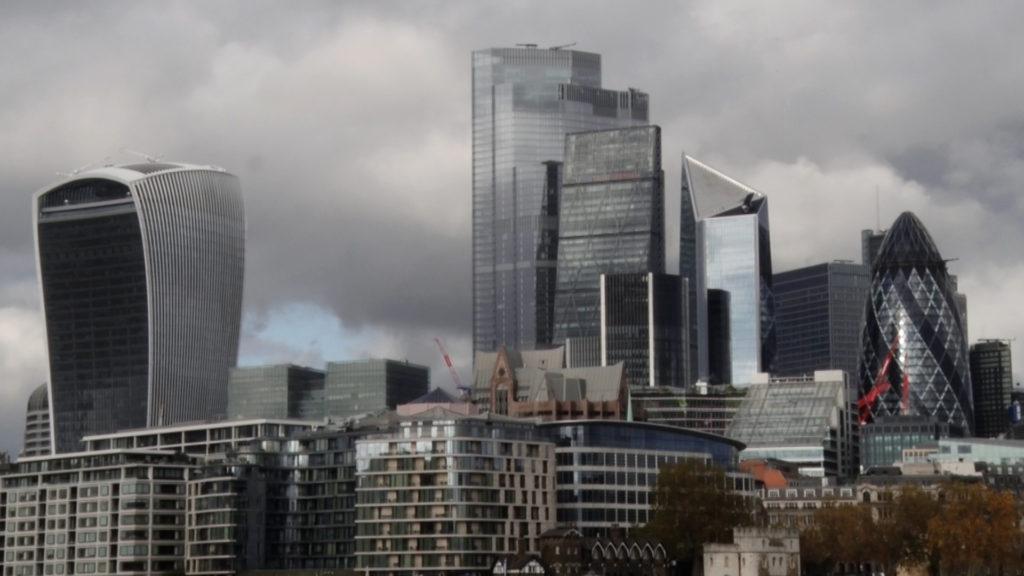 Shots of skyscrapers in London
