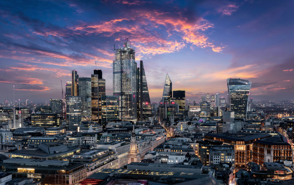 The City of London just after sunset, United Kingdom