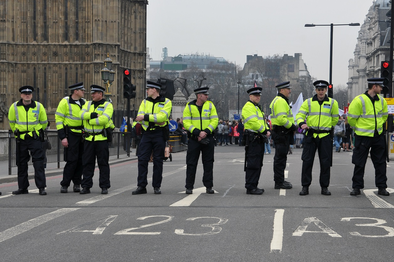 Police Stand Guard in London