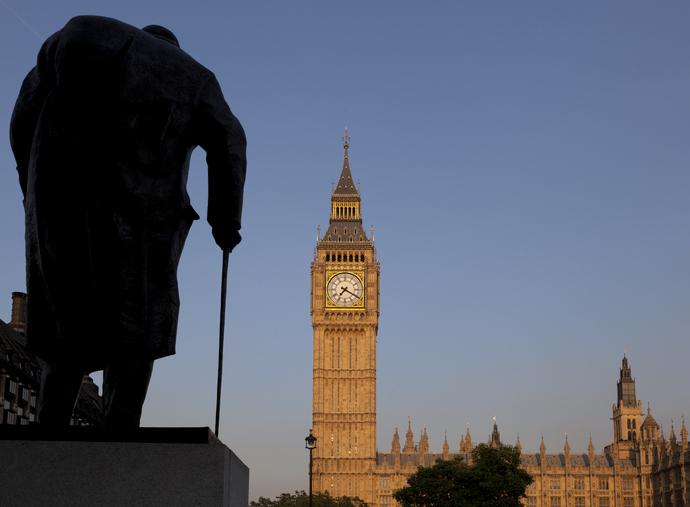 Big Ben and Churchill Statue